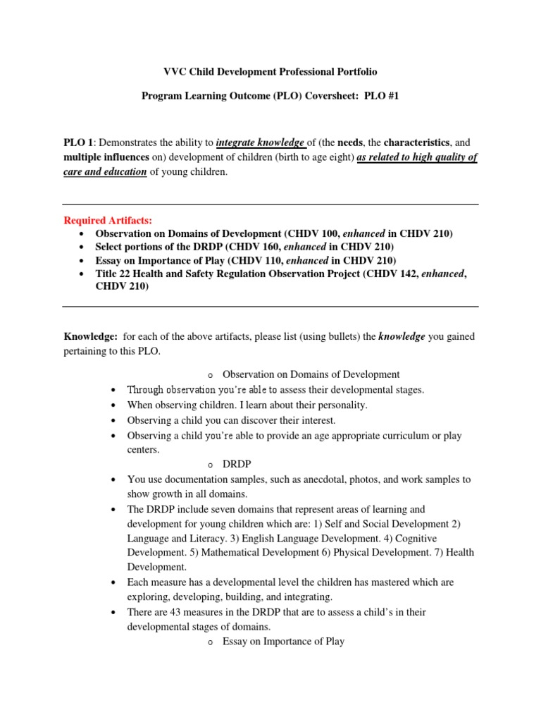 plo chdv child development curriculum