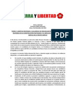 Tierra y Libertad Responde a Calumnias de Renunciantes en Cajamarca