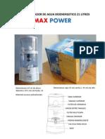 filtro purificador de agua bioenergetico 21 litros