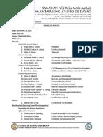 November 28, 2014 SAMAHAN Central Board Report of Minutes