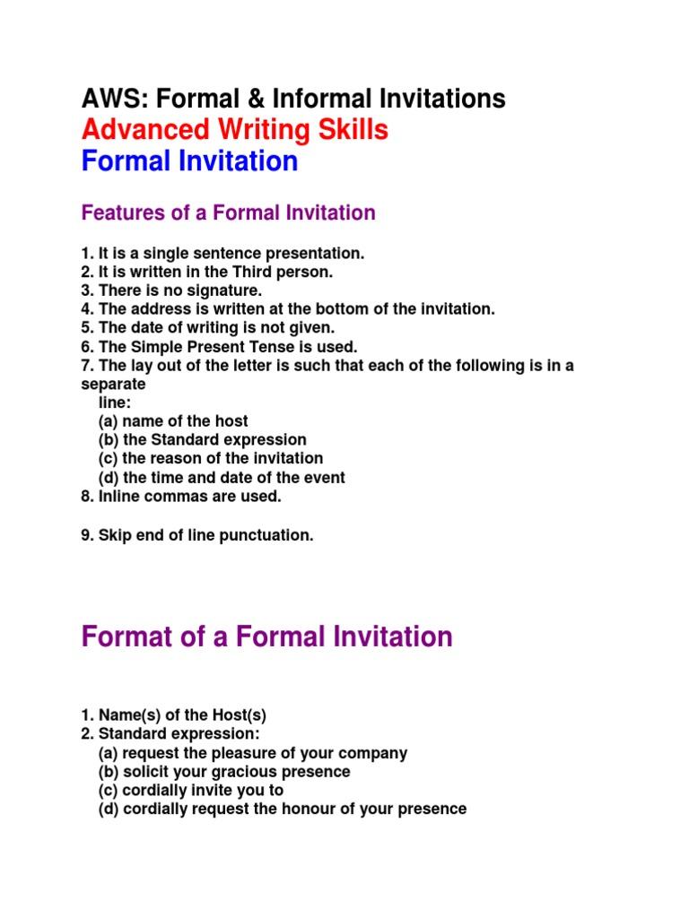 Formal informal invitations social conventions society stopboris Choice Image