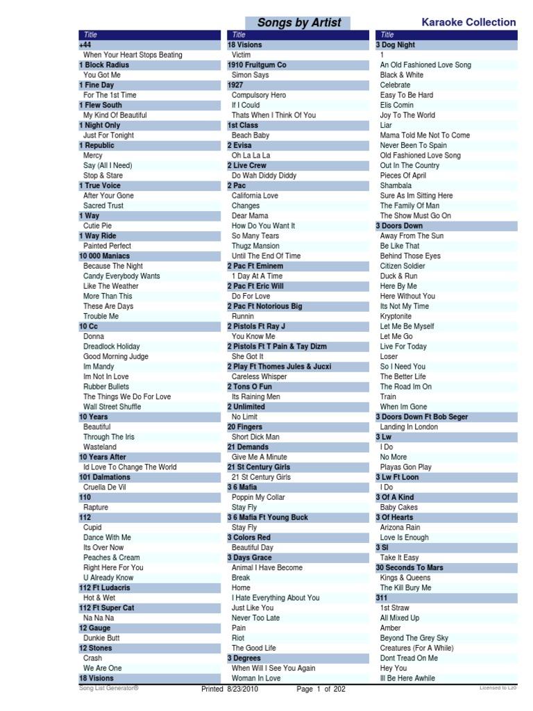 karaoke song list songs pop culture