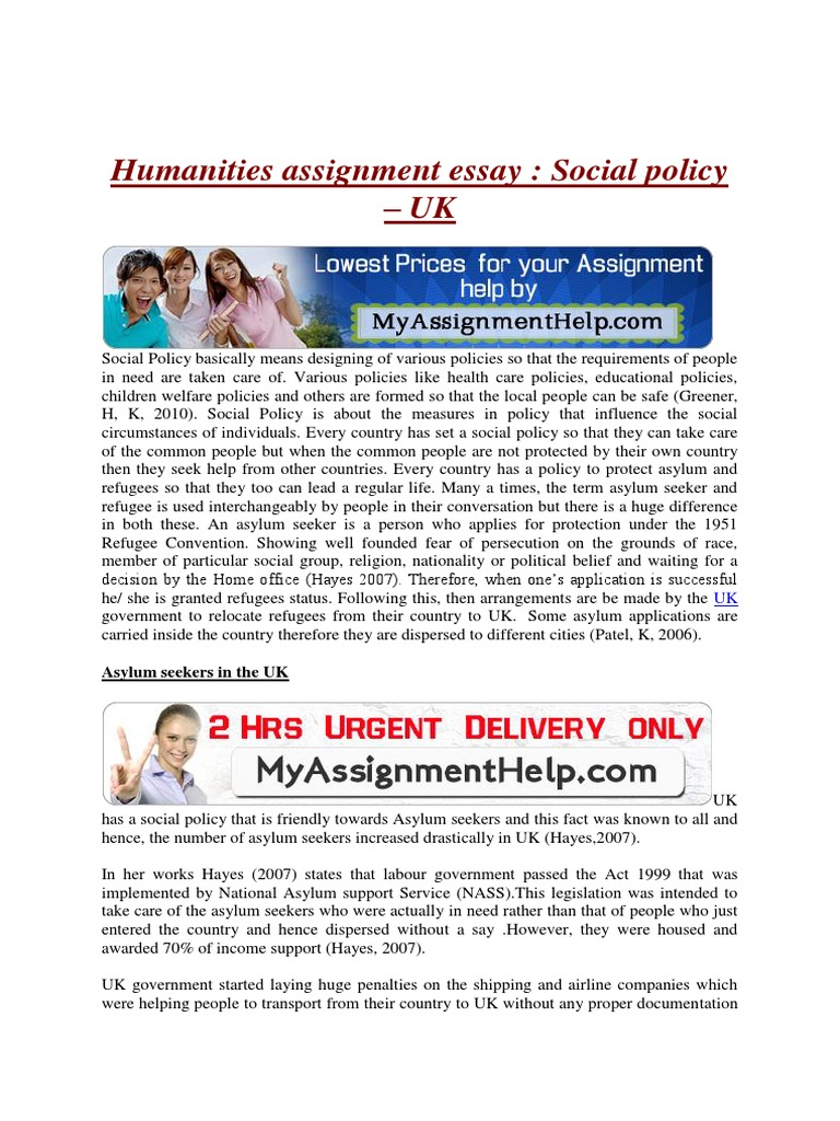 Essay For Science Humanities Assignment Essay On Social Policy Uk  Refugee  Asylum Seeker Essays On Language also Henry David Thoreau Civil Disobedience Essay Humanities Assignment Essay On Social Policy Uk  Refugee  Asylum  Essay Dream