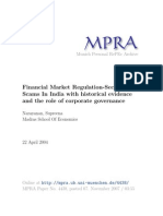 Financial Market Regulation Security Scams in India With Historical Evidence and the Role of Corporate Governance