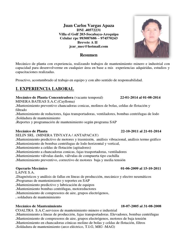 Vistoso Curriculum Vitae Del Mantenimiento Industrial Elaboración ...