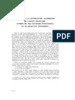 Enquête Litterature Algerienne de Langue Francaise