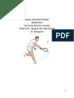 sports education model badminton