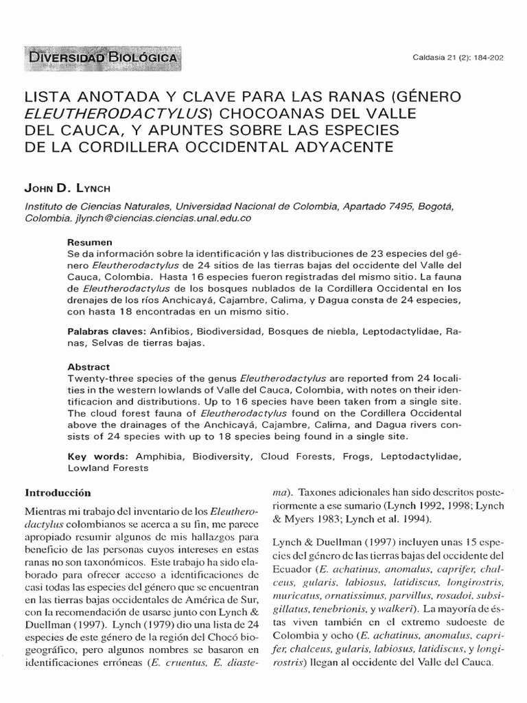 LISTA ANOTADA Y CLAVE PARA LAS RANAS (GÉNERO ELEUTHERODACTYLUS ...