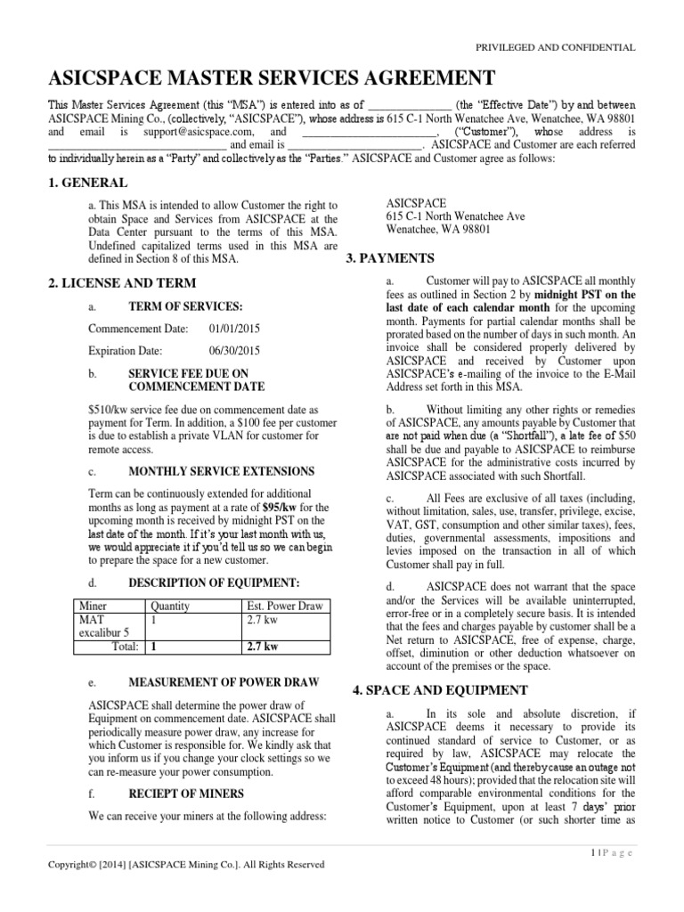 Asicspace Master Services Agreement Value Added Tax Taxes