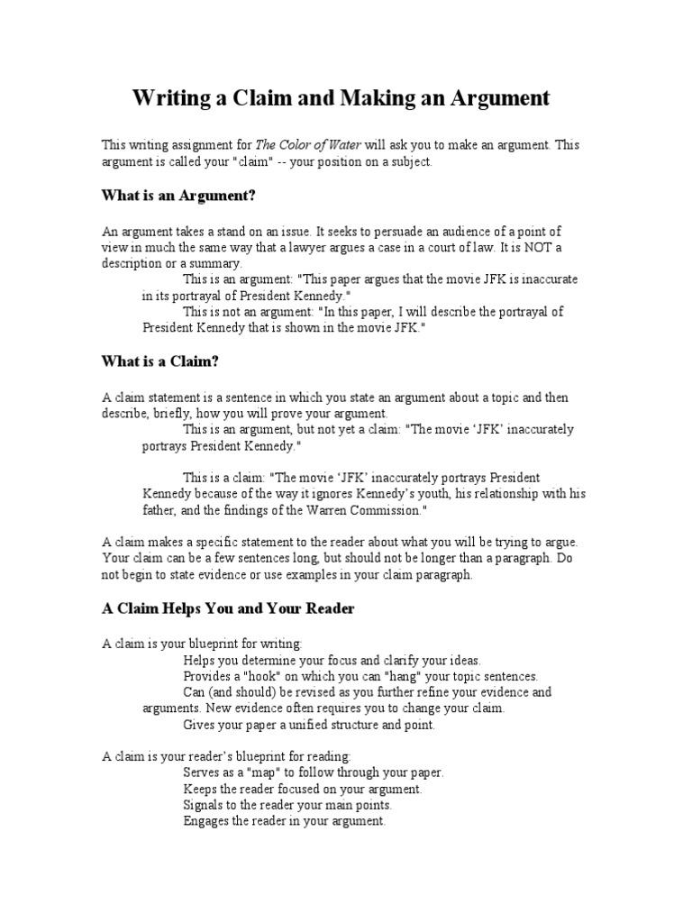 claim statement examples