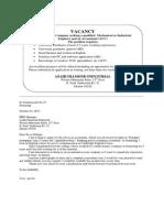 Apllication Letter