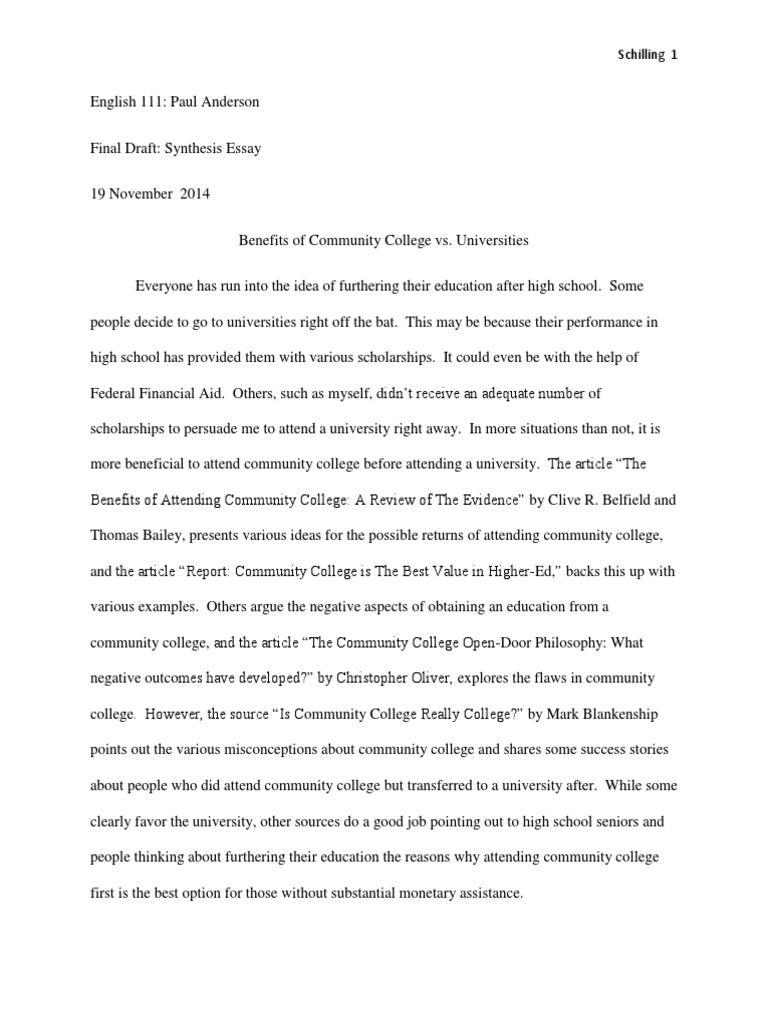Thesis Statement Example For Essays  High School And College Essay also English Persuasive Essay Topics Mr Anderson Synthesis Essay  Tuition Payments  Pell Grant English Language Essay