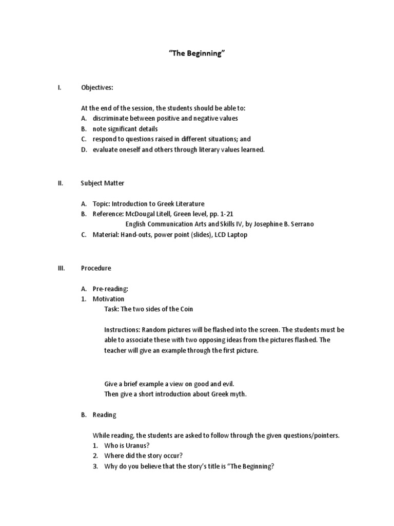semi detailed lesson plan of greek mythology the beginning semi detailed lesson plan of greek mythology the beginning lesson plan psychology cognitive science