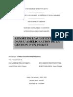 Apport de l'audit externe dans l'amélioration de la gestion d'un projet