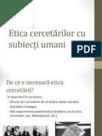 Etica Cercetarii Sociale