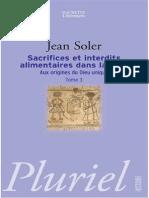 Sacrifices Et Interdits Alimentaires Dans LaBible -  Jean Soler