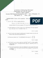 MA20107 Matrix Algebra