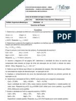 Lista de Exercio Físico-Química Metalúrgica
