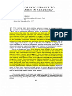 Bunge, M (1995) in Praise of Intolerance to Charlatanism in Academia