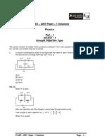 IIT-JEE – 2007 Paper – 1 Solutions