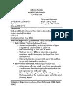 nutrition 2990 resume
