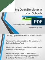Using OpenSimulator in K-12 Schools