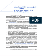 Principii Etice in Relatiile Cu Angajatii Firmei, Cu Partenerii de Afaceri Si Cu Institutiile Public