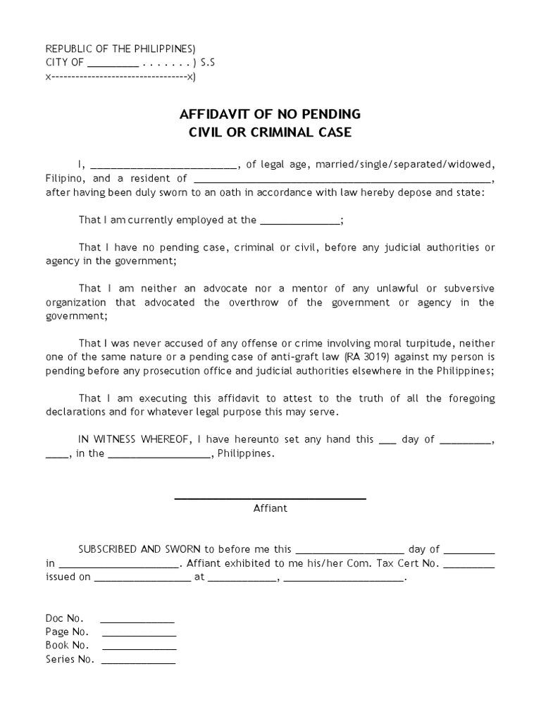 Affidavit of no pending civil or criminal case 1534209211v1 altavistaventures Gallery