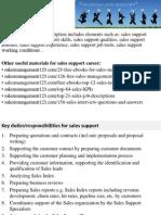Sales Support Job Description