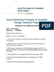 Anna University Principle of Compiler Design Question Paper