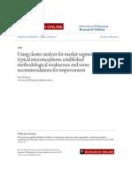 Using Cluster Analysis for Market Segmentation 2003