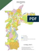 Mapa hidrografico do município de São Paulo com divisão de bacias hidrográficas