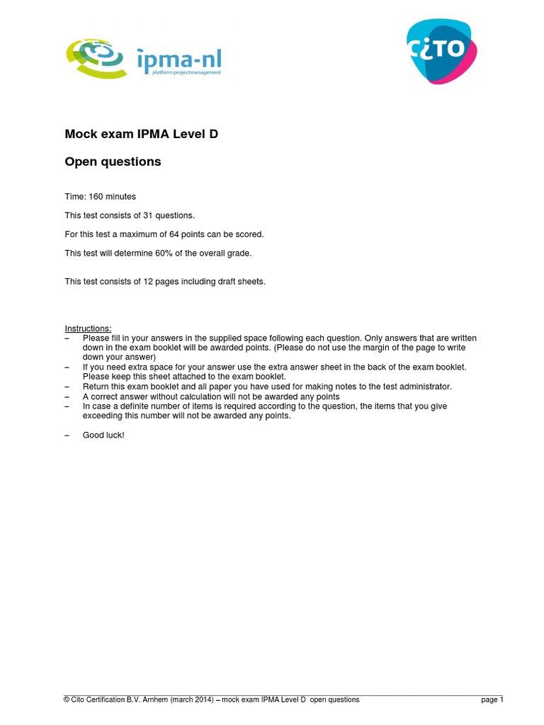 Cito Mock Exam Ipma Level D Open Questions Test Assessment