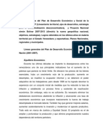 Líneas Generales Del Plan de Desarrollo Económico y Social de La Nación 2001