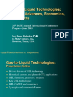 Gas-To-Liquid Technologies Recent Advances Economics Prospects
