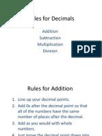 rules for decimals -x divide