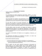 Carta a Sanchez Ceren - Vetar decreto para que TSE legisle sobre Voto Cruzado