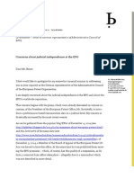Email to Mr Ernst - Concerns About Judicial Independence at EPO