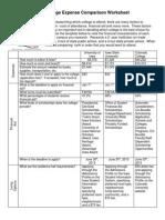 college comparison worksheet kainan cooper block 2