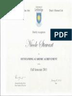 deans honour list fall 2011