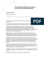 Excepción Del Artículo 1683 Del Código Civil Relativa a Personas Que Pueden Solicitar La Nulidad Absoluta