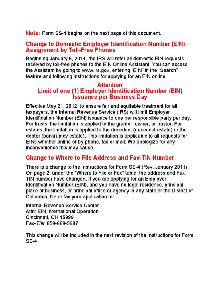 WW SS-4   Tax Return (United States)   Irs Tax Forms