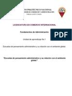 Escuelas de Pensamiento Administrativo y Su Relación Con El Ambiente Global_Fundamentos de Administración
