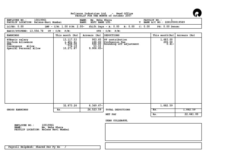 Reliance Industries Ltd Head Office PAYSLIP – Payroll Slip