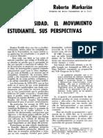 Roberto Markarian - La Universidad, El Movimiento Estudiantil y Sus Perspectivas - Revista Estudios Nº 67, Junio de 1973