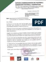 Fecafoot Appartenance Au CN Et CCA