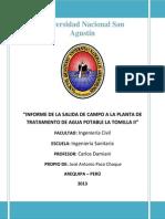 INFORME DE LA SALIDA DE CAMPO A LA PLANTA DE TRATAMIENTO DE AGUA POTABLE LA TOMILLA II