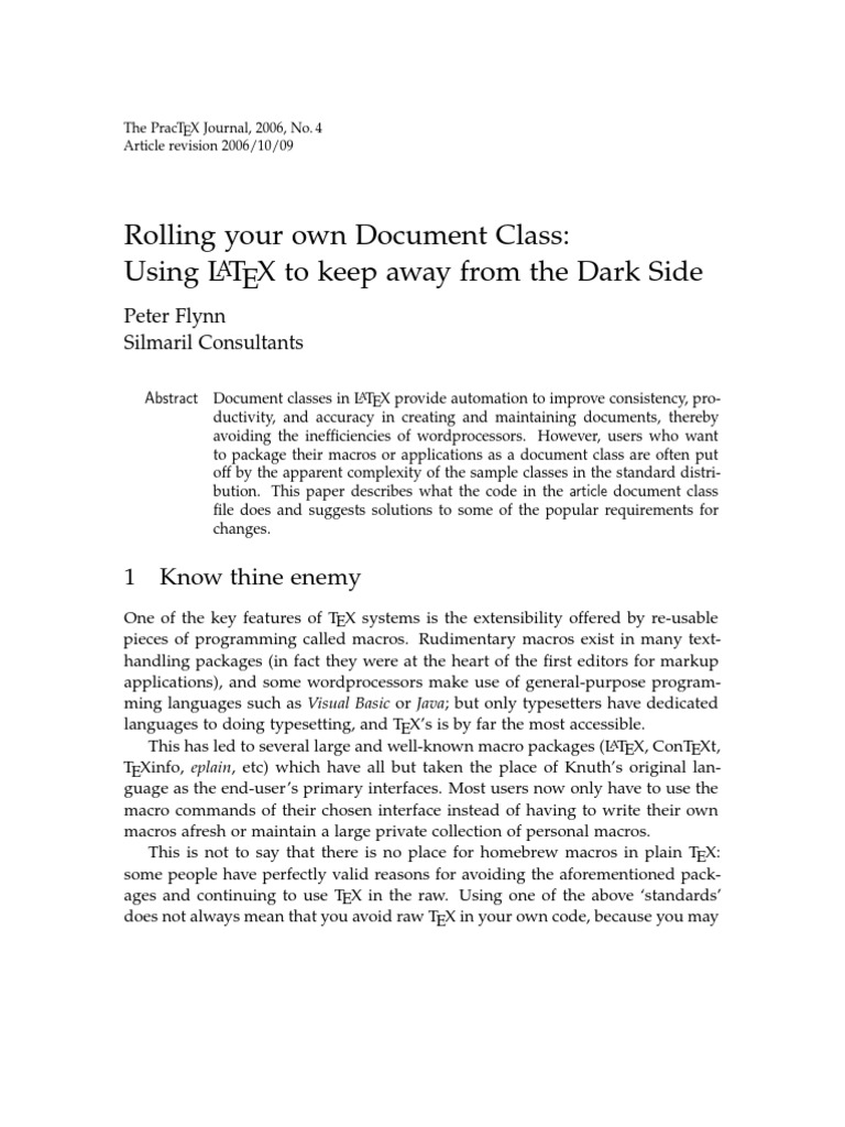 rolling your own document class  using latex to keep away