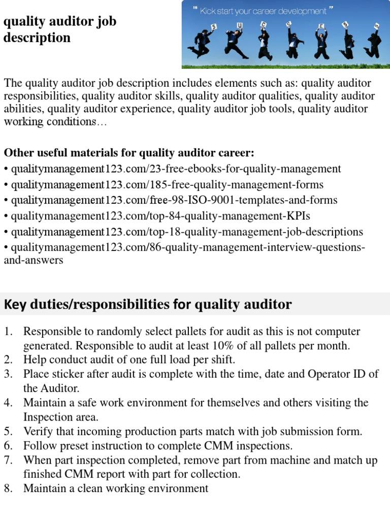 Quality Auditor Job Description | Evaluación de desempeño