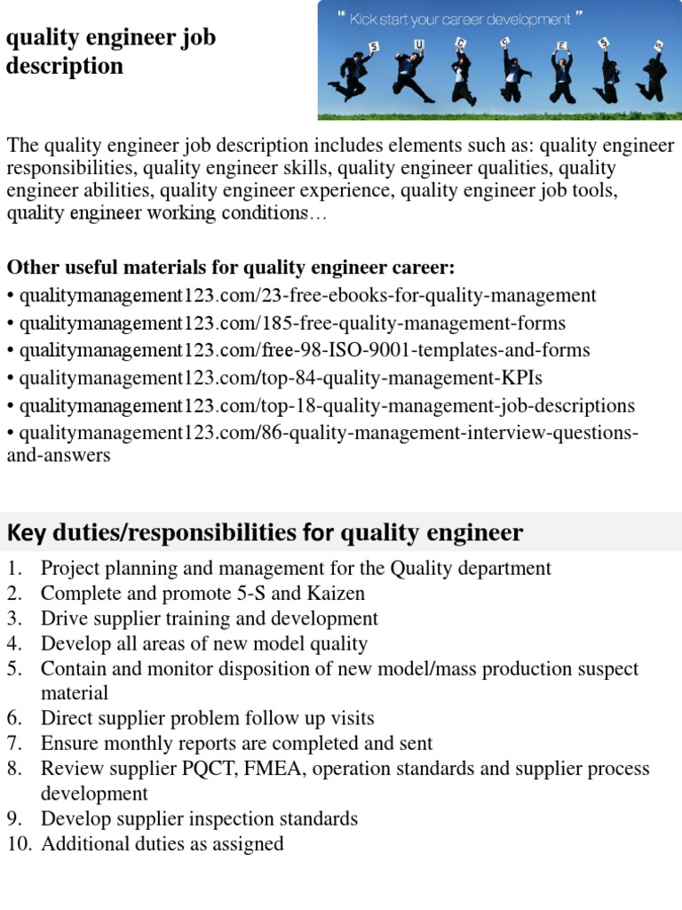 Captivating Quality Engineer Job Description   Engineer   Competence (Human .